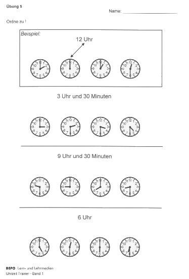 Arbeitsblatt Uhrzeit Volle Und Halbe Stunden : Uhrzeit band